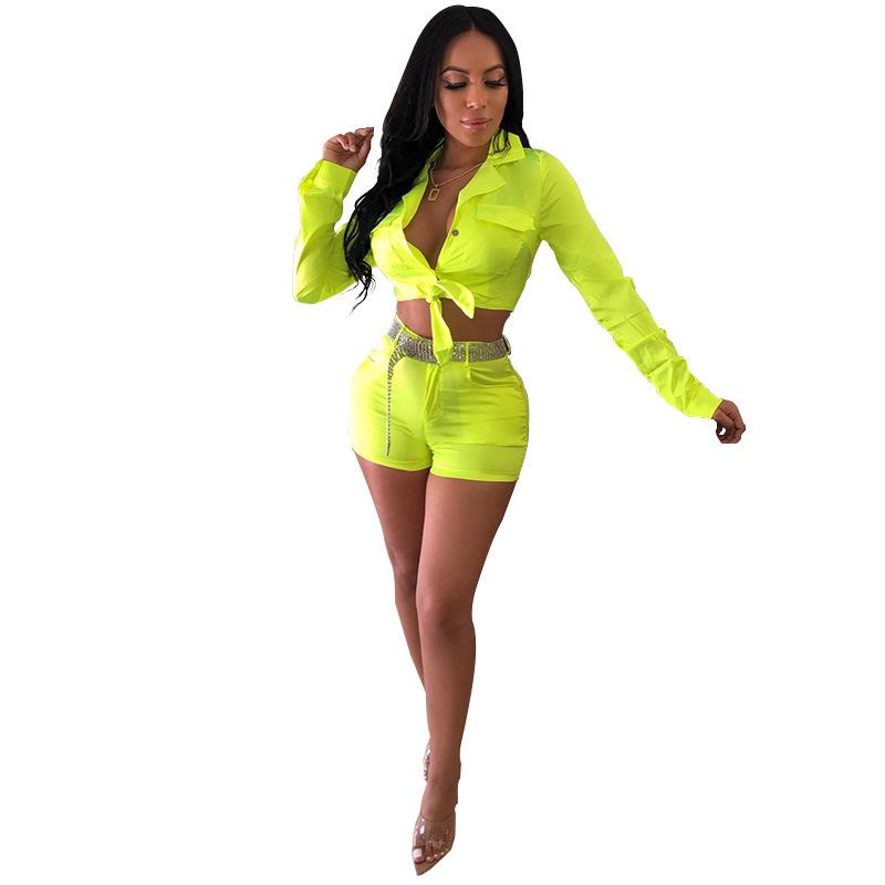 ANJAMANOR, неоновый, розовый, зеленый, атласный, 2 предмета, короткий комплект, осенняя Сексуальная Клубная одежда для женщин, фестивальный Рейв, ...(Китай)