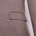 Tailored knit stretch slim check brown blazer party man suit korean style young men formal suits with half lining