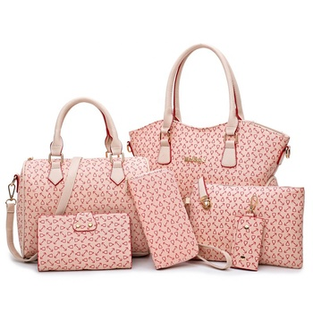 2019 NEW Designer Fashion Leather Lady Tote Bags Trendy Luxury Women Handbags 6 Set