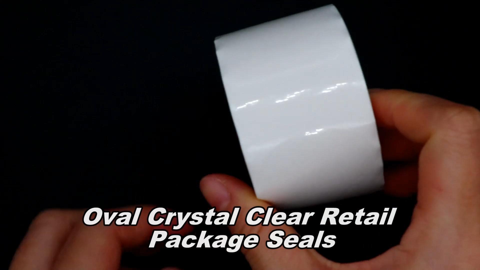 Hybsk Oval de cristal claro paquete de venta al por menor sellos círculo oblea pegatinas/etiquetas/500 por rollo