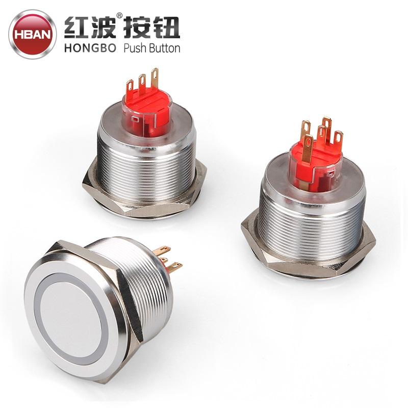 Bouton-poussoir avec double led en acier inoxydable, bouton-poussoir momentané, étanche, 30mm, IP67, 1 pièce