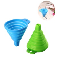 FDA Approved100% Food Grade Silicone Collapsible Funnel Silicone Foldable Kitchen Funnel for Liquid/Powder Transfer