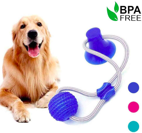 Eco-Friendly Stocked Indestructable Interactive Rubber Dog Treat Ball Suction Cup Dog Pet Toys With Suction Cup Rope