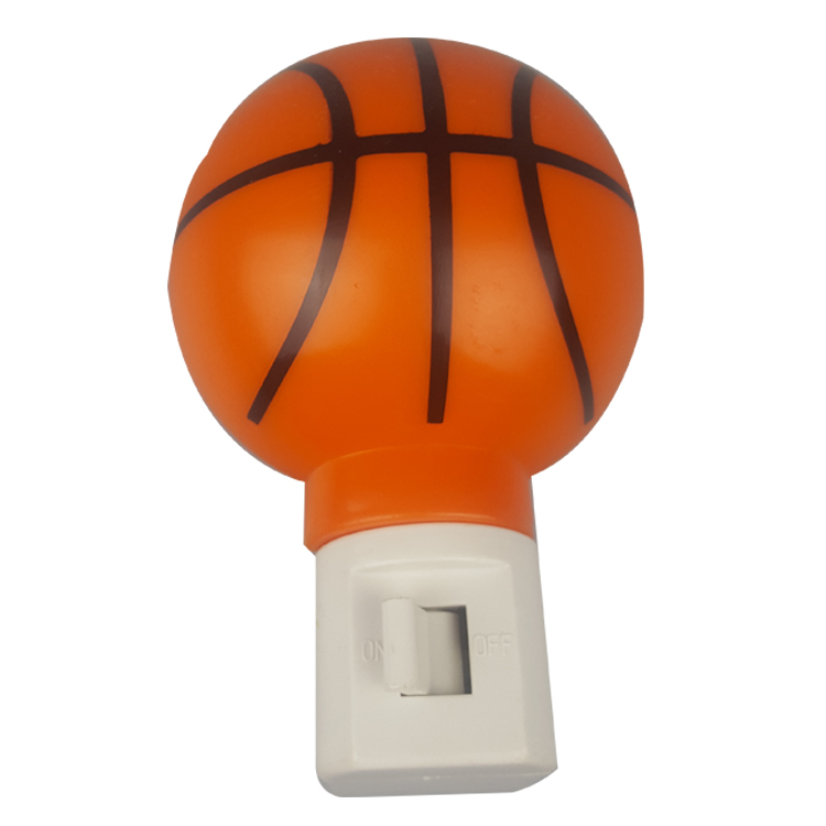 A61-B basketball plastic mini plug in night light on off with bulb CE ROHs certificate approved
