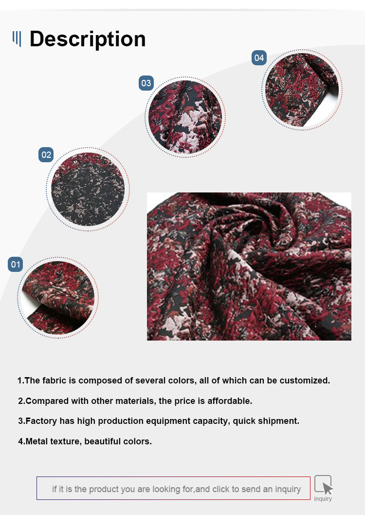 TDJG129  2019Chinese wholesale 3D brocade metallic woven jacquard 100% polyester fabric 100%poly