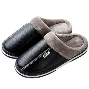 Unisex Leather Fabric Waterproof Indoor Outdoor Pu Plush House Cotton Women Winter Slipper