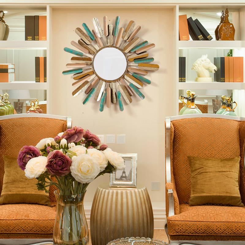 Кованого железа творческий ретро гостиная металлическое искусство зеркало