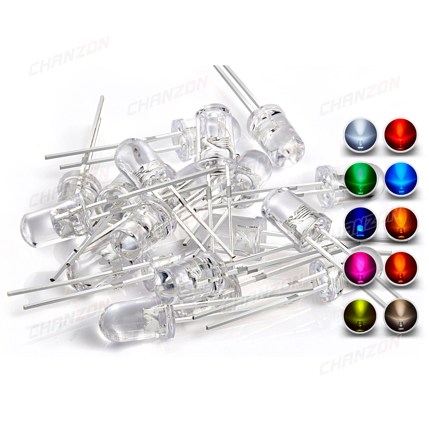 100pcs 5mm LED Kit Pack Warm White Red Blue Yellow Green UV Orange Pink 5 mm Round Lamp Bulb Light Emitting Diode Set Assortment