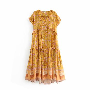 Summer New Design Boho Style Floral Printed V-neck Pleated Maxi Lagze Size Dress For Lady