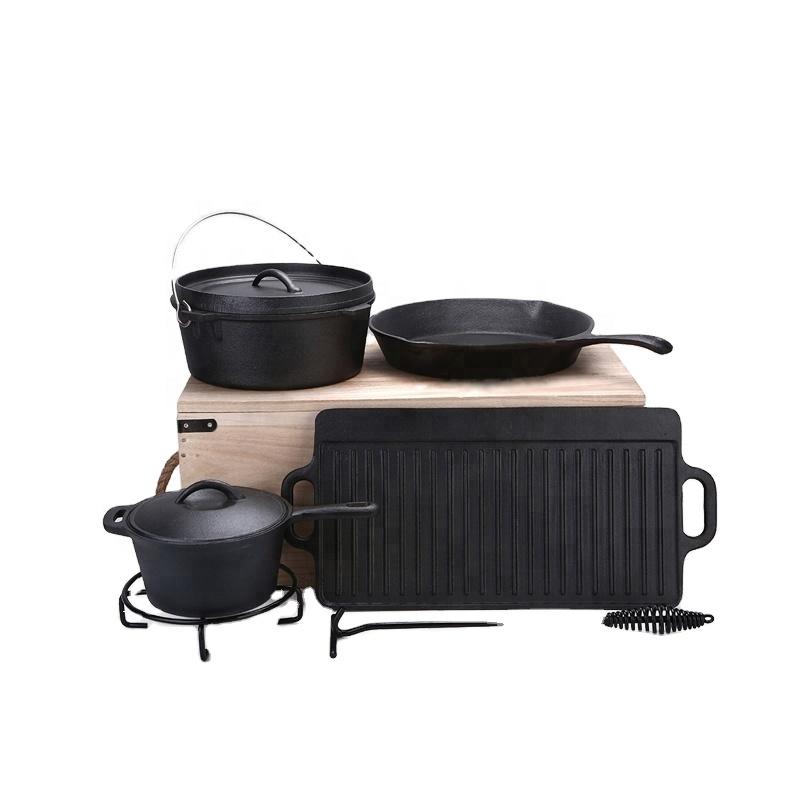 Klasik sıcak satış 7 adet dökme demir önceden pişirilmiş kamp Pot TENCERE SETİ ahşap kutu ile