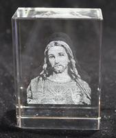 3D Laser Etched Crystal Paperweight Jesus Christ Christian Gift MH-F0479