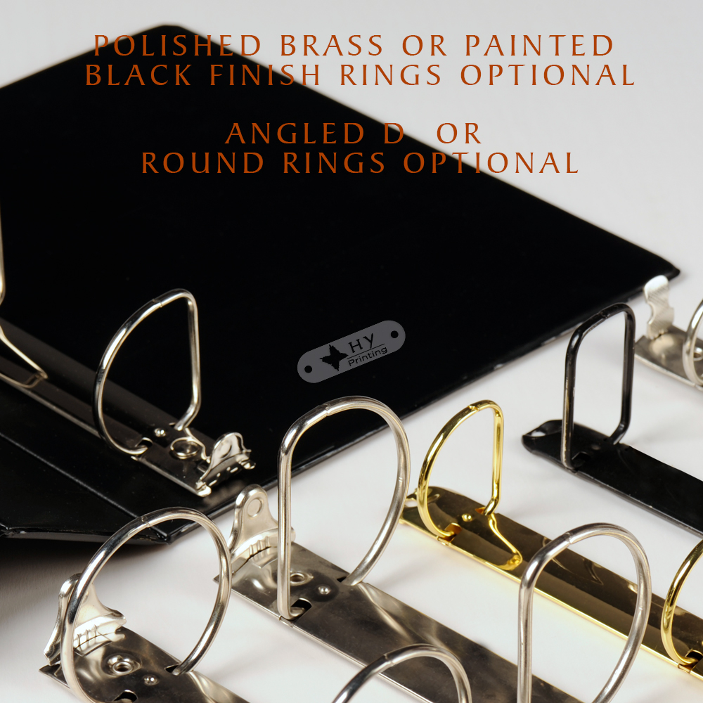 Silkscreen Textured binder 3D ring Polished Chrome Finish Plastic 3 ring binder