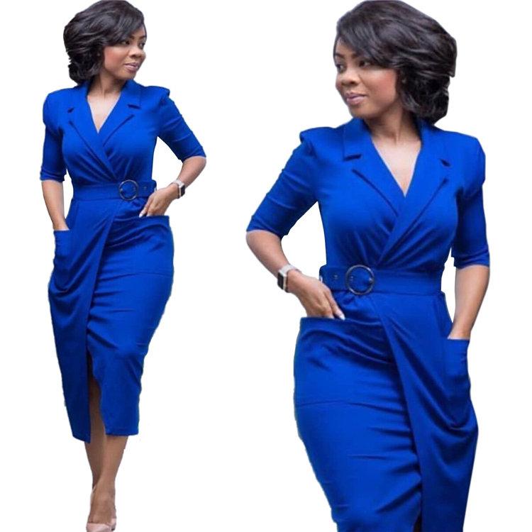 Fashion New Design High Quality Dress Woman Plus Size Dress With Belt