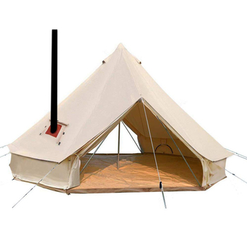 4 Season Camping Cotton Canvas Glamping Wall Hunting Tent Bell Tent With Stove Jack Hole