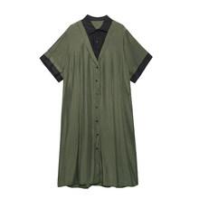 Женское платье-рубашка EAM, зеленое плиссированное платье большого размера с отворотом и рукавом средней длины, весенне-летняя мода 2020 1W357(Китай)