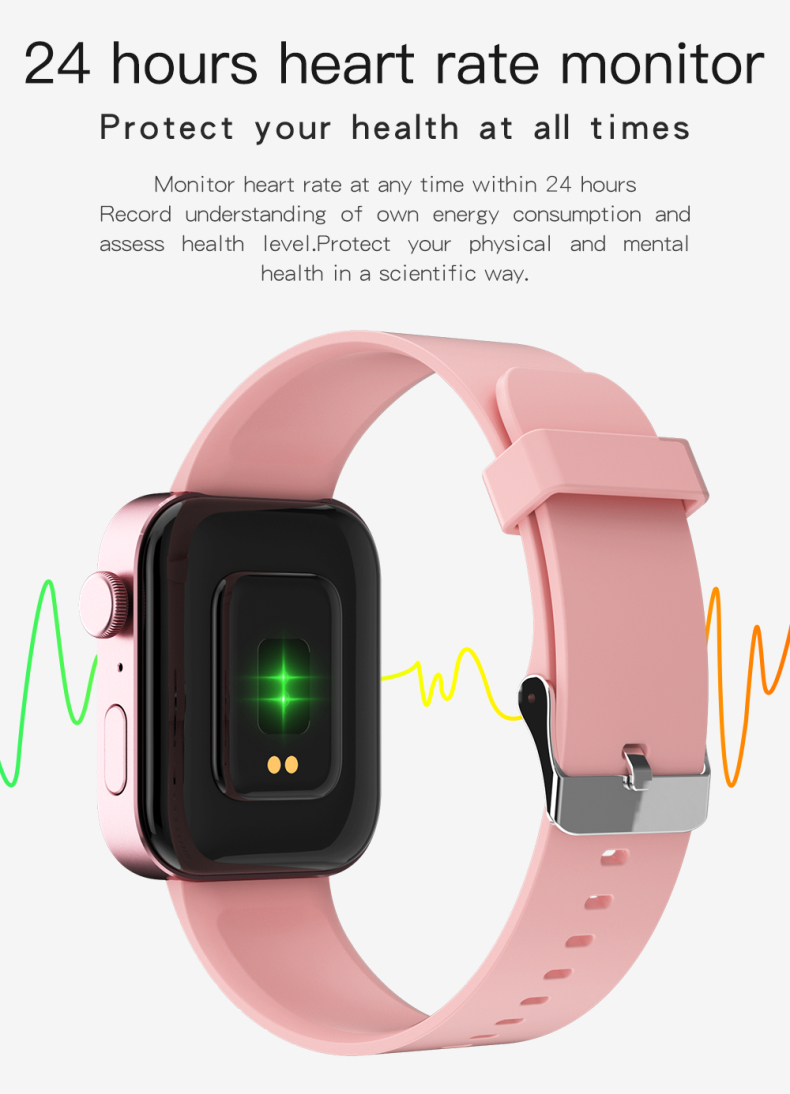 P40 Smart Watch MTK2502C 1.65 Inch Full Touch Screen 240*295 Blood Pressure Monitor BT Call Smartwatch
