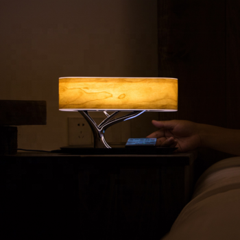 Ingenious design tree of light wooden led tree shape bedside table lamp wireless charger bluetooth speaker YT-M1602-B2