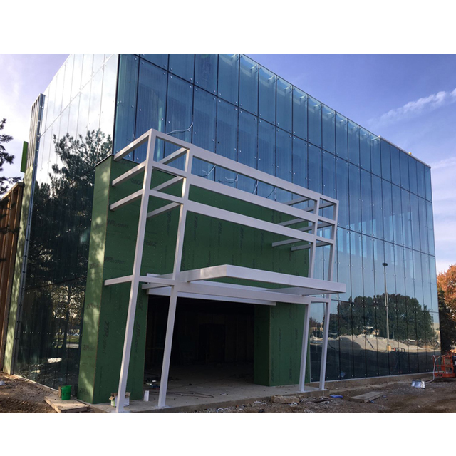 glass curtain wall for commercial building, glass facade, glass wall Tempered Low-e spider curtain wall glass with big size