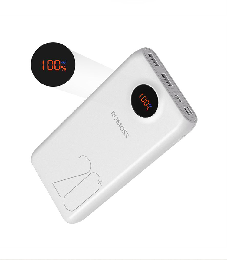 20000mAh ROMOSS SW20 Pro Portable Power Bank Charger External Battery QC3.0 Fast Charging With LED Display For Phones Tablet