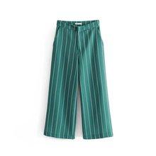 Брюки в винтажном стиле, зеленые, в полоску, с карманами, на одной пуговице, с вырезами, блейзер на молнии, прямые длинные штаны, повседневные ...(Китай)