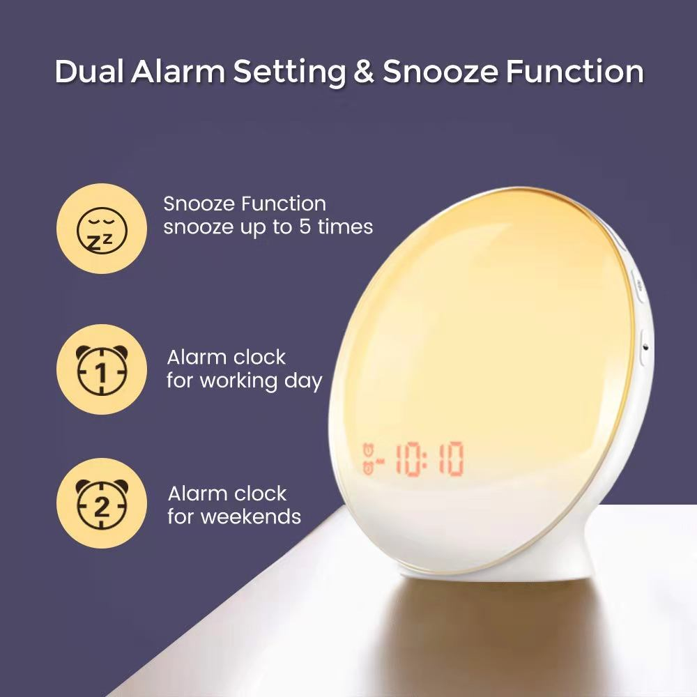 Factory Wholesale Time Display Snooze function LED Wakeup Light