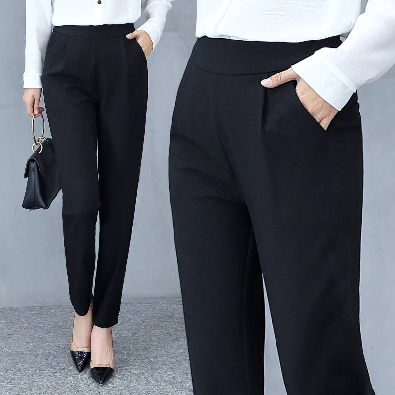 High Waist Autumn Straight Leg Slacks Office Lady Suit Pants Women Casual Trousers