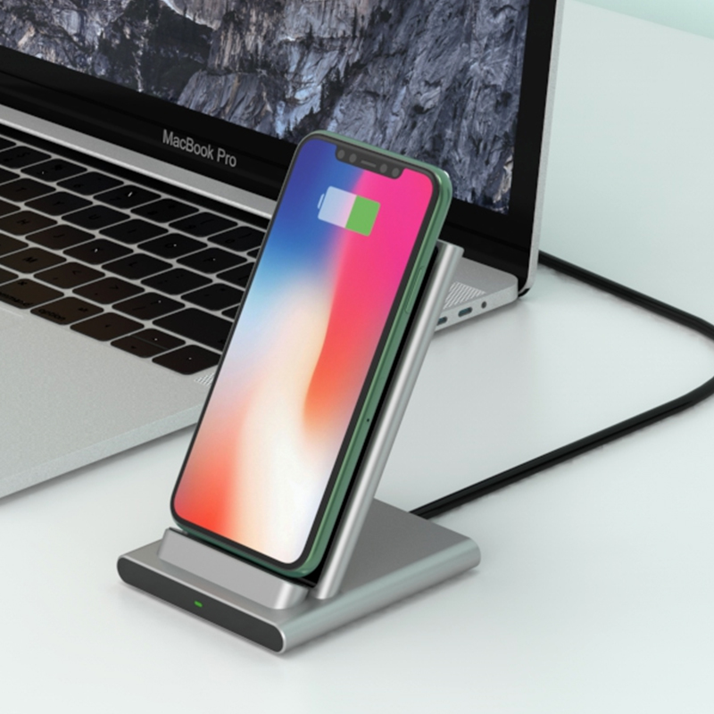 WiWU 2 in 1 Wireless Fast Charger Stand for Smart phone with Dual coil high-speed Aluminum alloy desktop charger stand