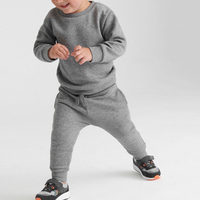 Kids plain tracksuit baby boy pullover tracksuit two pieces hoodie jogger tracksuit children