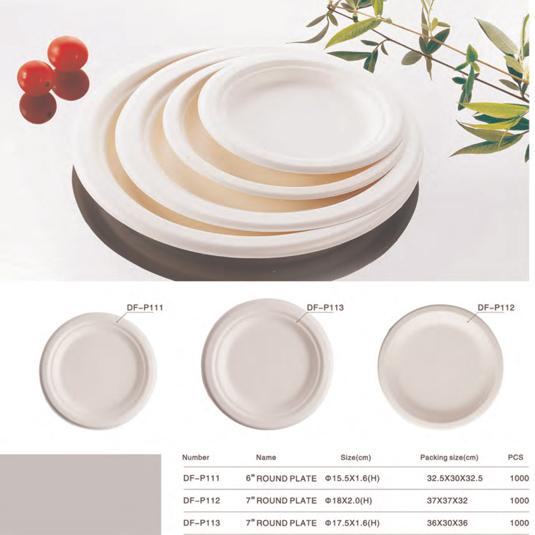 Biodegradable tableware custom printed logo 6 inch unbleached sugarcane sugarcane bagasse plate
