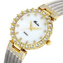 MISSFOX, розовое золото, женские часы, Лидирующий бренд, роскошные бриллиантовые женские наручные часы, сетчатые женские кварцевые часы для дро...(Китай)