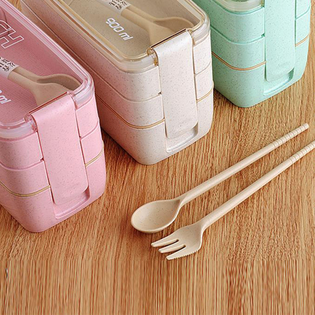 Wheat And Straw Grade Material Leak Proof 3 Layer Container Food Plastic Bento Student Lunch Box With Spoon And Fork