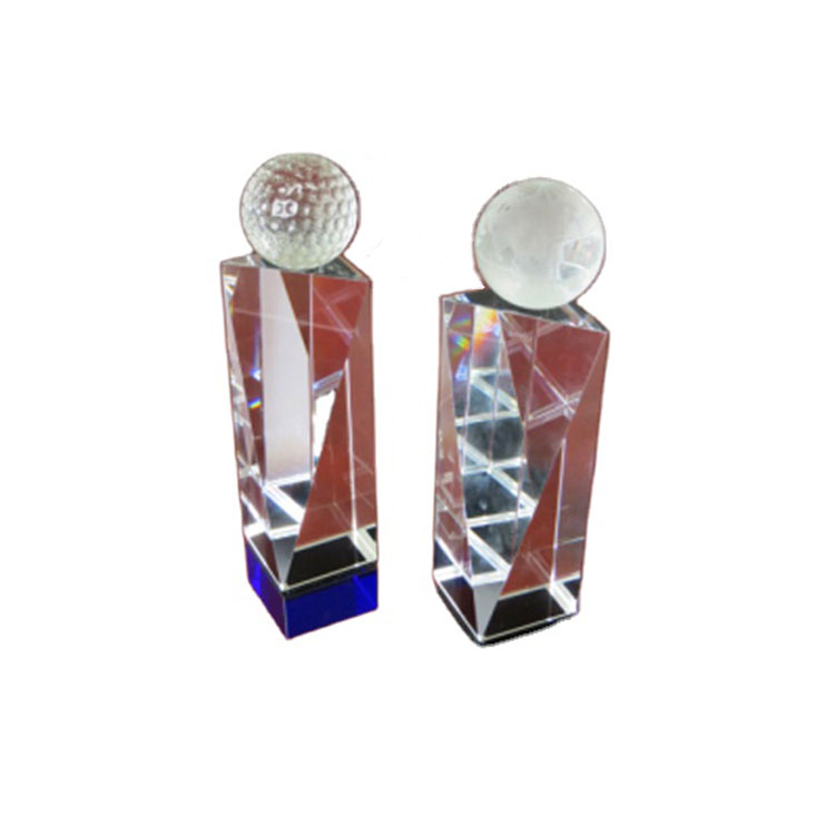 V Crystal Glass Golf Trophy With Blue Base Crystal Ball Trophy