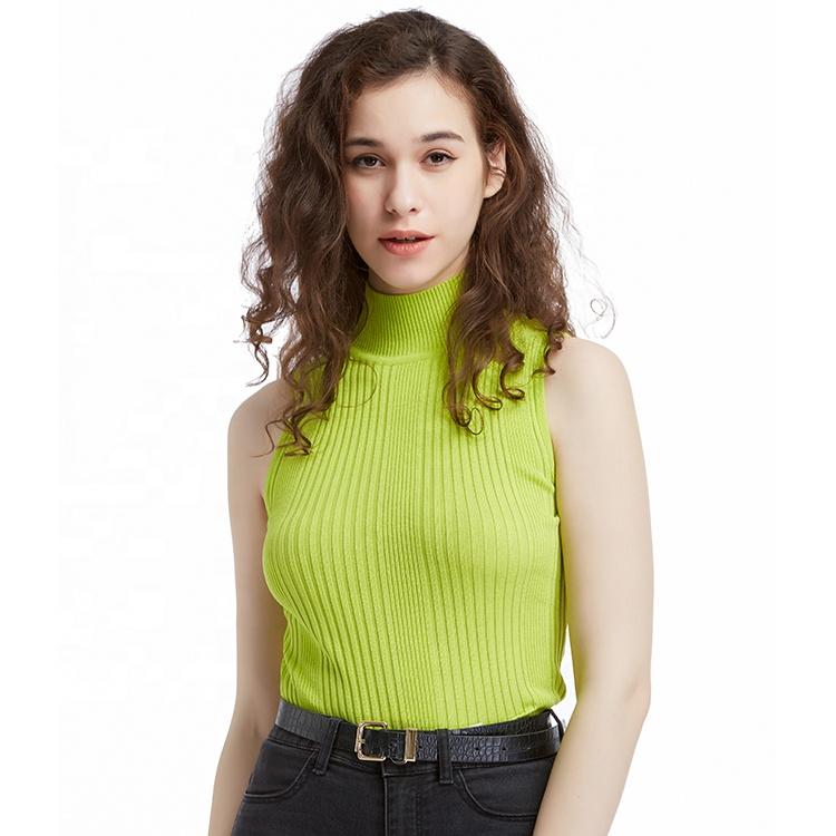 13stc5346 Lady Sleeveless Turtleneck Sweater Buy Mouwloze