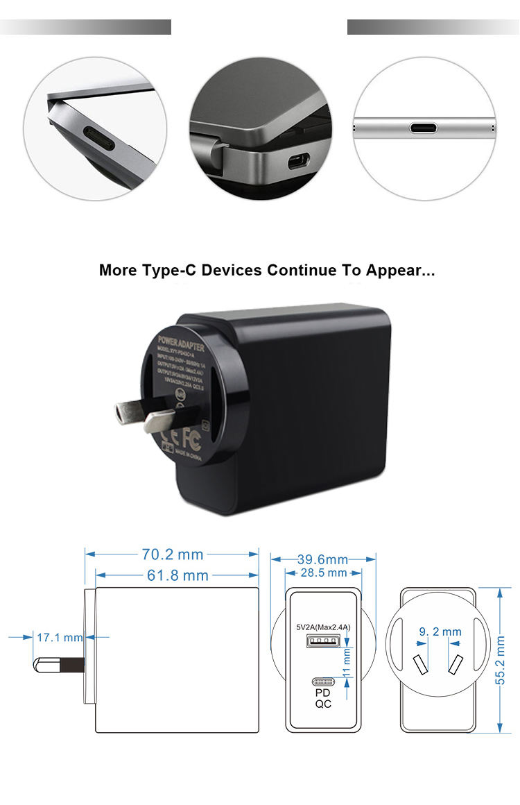12V 2A Kc 20V Power Adapter 65W 61W Usb C Travel Wall Charger Plug Supply 60W Qc 3.0 Pd And Ac Adaptor 230 240V 50Hz