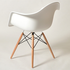 Plastic Chair Wood Living Room Plastic Chair Factory Bargins Plastic Living Room Armrest Chair With Solid Wood Legs