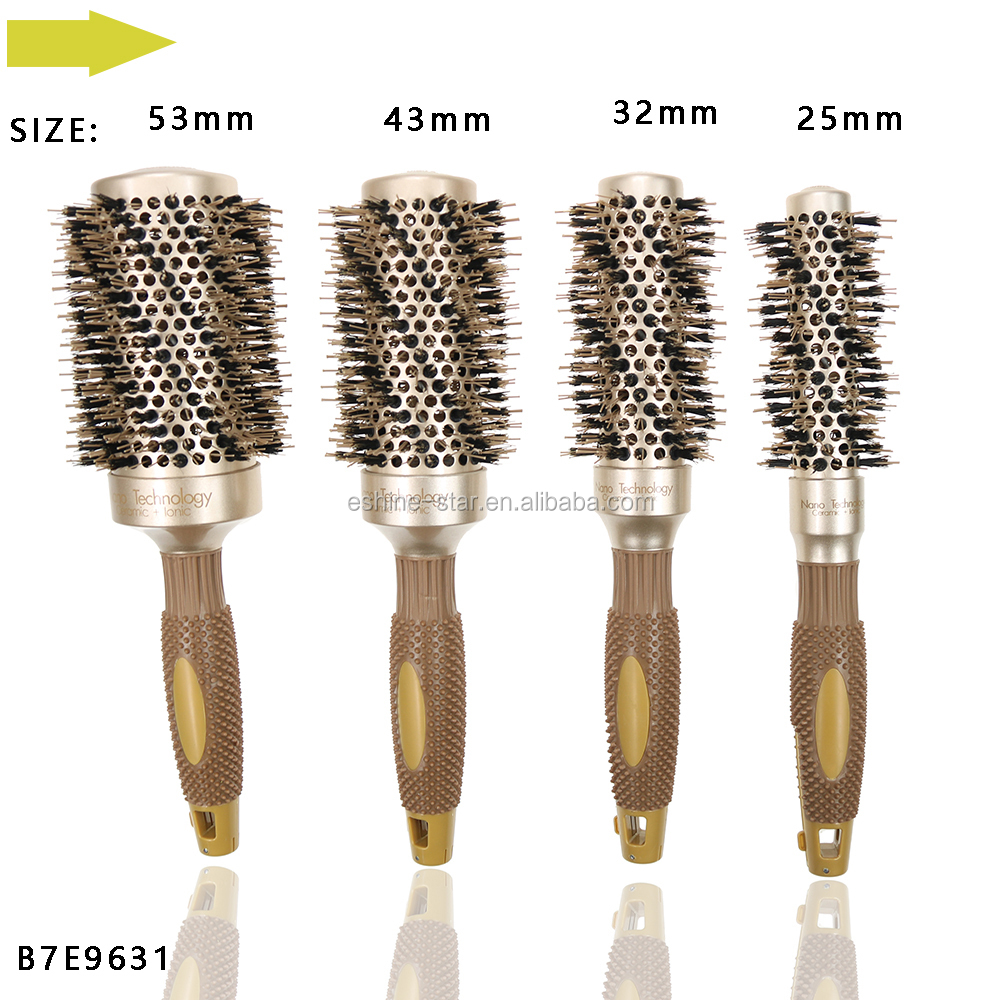 Private label plastic boar mixed nylon color change function rubber handle round hair brush