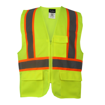 Cool High-Visibility Tone Vest with Reflective Tape and Zipper Closure and Pockets for Work Safety in Night