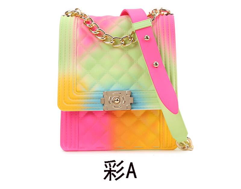 Osgoodway2 Colorful PVC jelly small square chain clutch crossbody bag little girls rainbow handbags