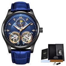 Часы LIGE мужские, Роскошные, кожаные, с двойным турбийоном, механические, модные, деловые, автоматические, водонепроницаемые, 2020(Китай)