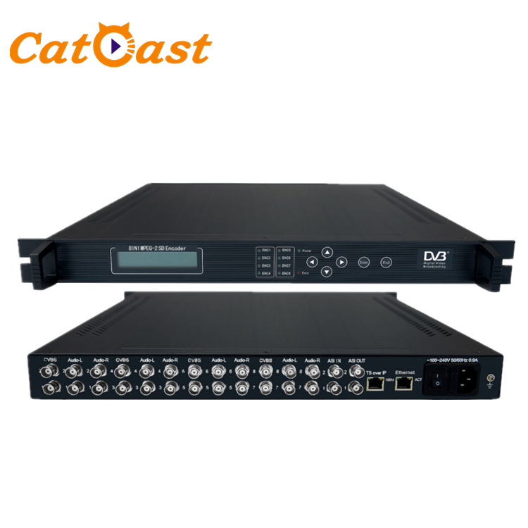 MPEG2 Hotel IPTV Streaming Server 8CVBS Port IP/Asi SD Video Encoder