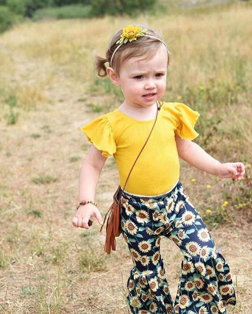 2pcs เสื้อผ้าเด็กฤดูร้อนผ้าฝ้ายเสื้อดอกไม้พิมพ์กางเกง