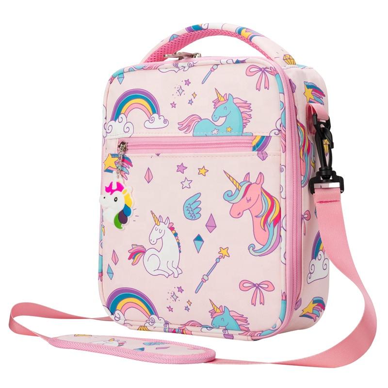Heopono Branded Food Safe Fashion Kids Thermal Food Cooler Bag Fitness BPA free Children Cartoon Unicorn Lunch Box Bag for Girls
