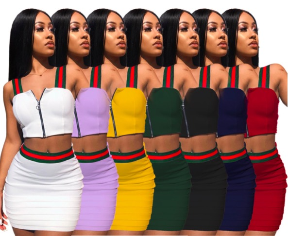 Groothandel Verkoop Vrouwen Tweedelige Set Outfits Jurk Club Night Wear Mini Jurken 2 Stuk Set Outfits Plus Size jurk Rok GL601