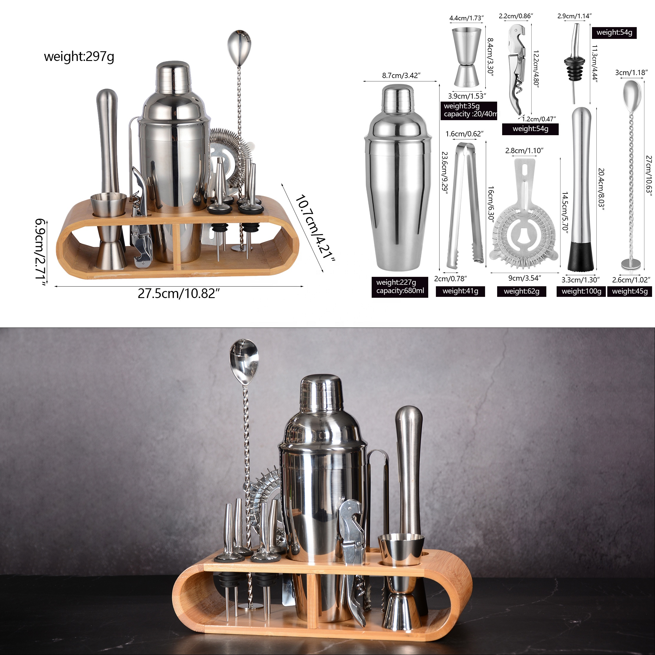 Custom high quality stainless steel bartender kit cocktail shaker set with wooden stand