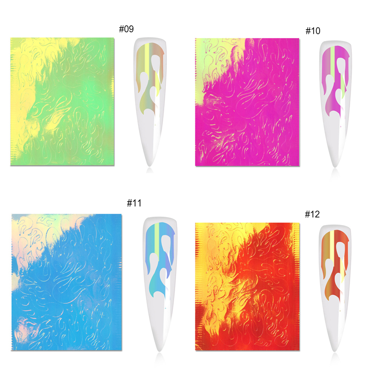 Hot selling 16 colors fire flame style self adhesive holographic laser flame sticker nail art flame nail sticker