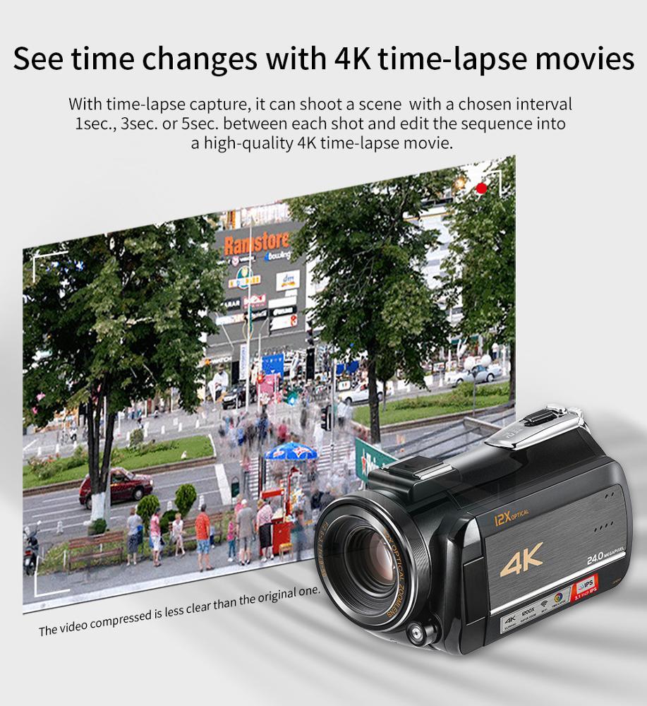 Winait profesional 4k kamera video digital dengan 3.0 ''layar sentuh/wifi/12x optical zoom/100x digital zoom/dukungan max 128GB