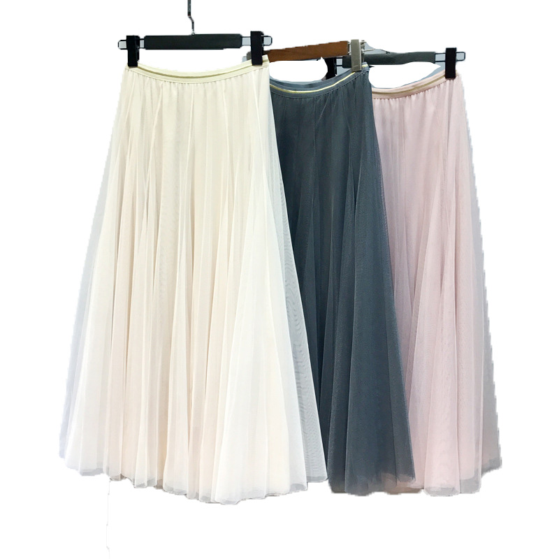spring Summer Vintage Skirts Womens Elastic High Waist Tulle Mesh Skirt Long Pleated Tutu Skirt