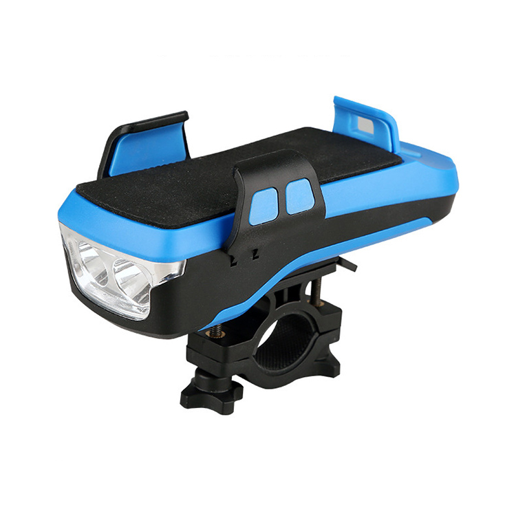 Bicycle Light Waterproof USB Rechargeable Bike Accessories Mobile Phone Holder Bicycle Front Light With Horn Bicycle horn