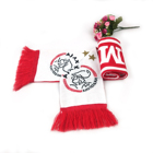 High quality factory directly produce OEM design red and white custom acrylic woven knitting hockey soccer fan scarf
