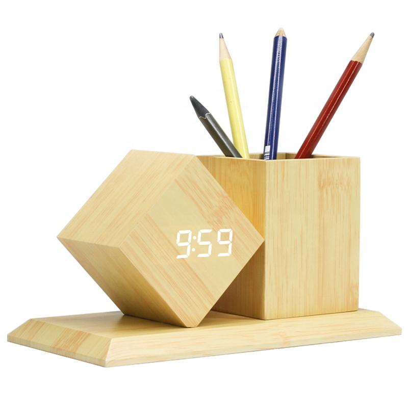 KH-WC010 изготовленный на заказ стоит нарядное офисный Настольный многофункциональный подарок настольные лампы деревянная подставка для ручек с цифровые светодиодные часы с будильником